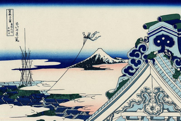 Hokusai - Thirty-six Views of Mount Fuji - Asakusa Hongan-ji temple in the Eastern capital