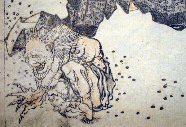 Katsushika Hokusai, detail of a Japanese print showing an oni being chased away by scattered beans