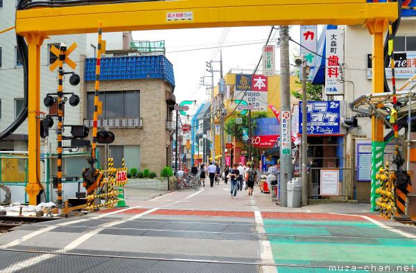 Japanese railway crossing near Omorimachi Station, Ota-ku, Tokyo