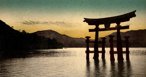 Sunset over the Great Torii at Itsukushima Shrine on Miyajima (Near Hiroshima)