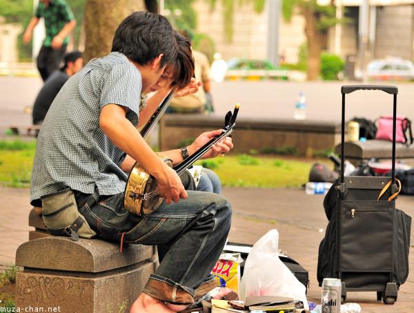 Sanshin Practice, Shinjuku Central Park, Tokyo