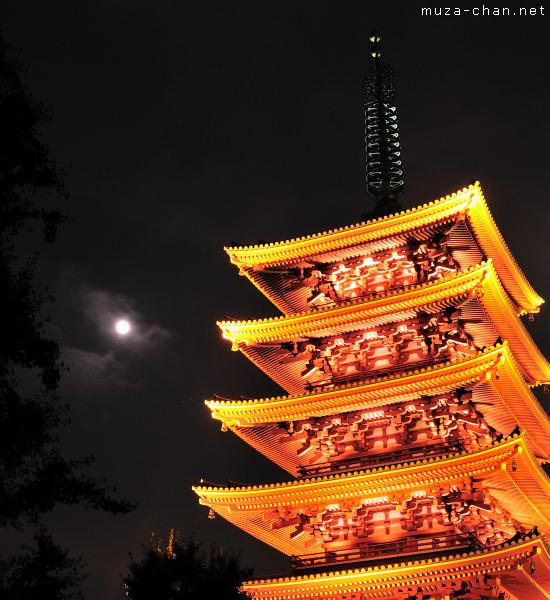 Full Moon, Senso-ji Temple Pagoda, Asakusa, Tokyo