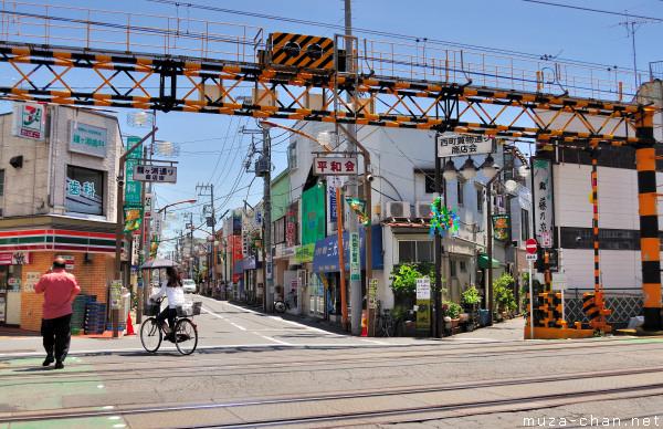 Japanese railway crossing near Kanegafuchi Station, Sumida, Tokyo