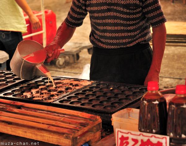 Cooking Takoyaki, Hozuki Ichi (Chinese Lantern Plant Fair), Senso-ji Temple, Tokyo
