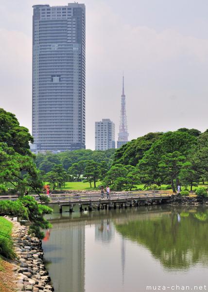 Tokyo Tower, View from Hamarikyu Gardens