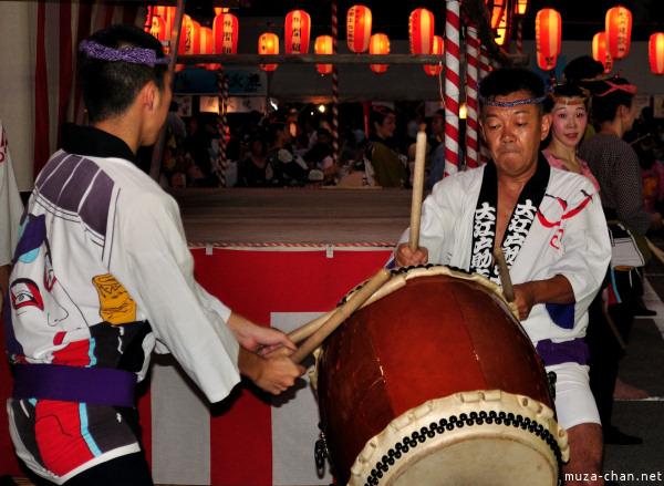 Taiko drummers, Tsukiji Hongan-ji Bon Odori, Tokyo