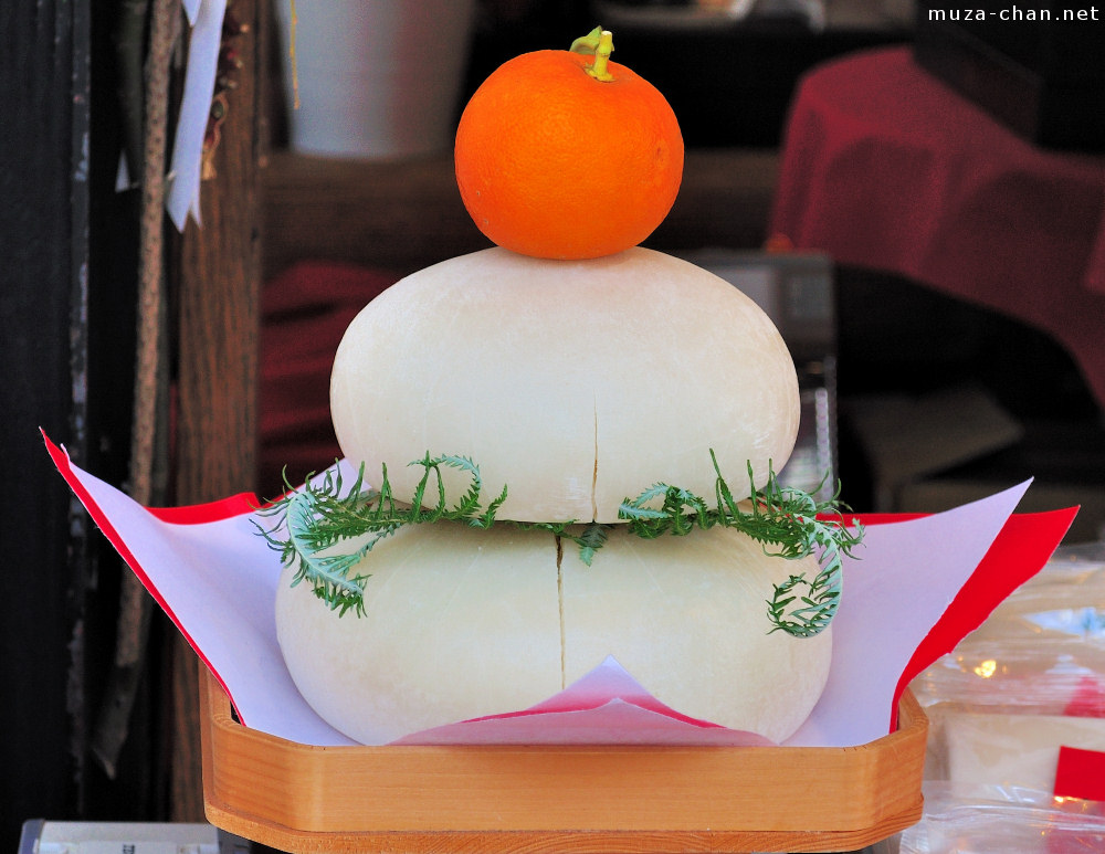 Traditional japanese new year decoration kagami mochi for Decoration new year