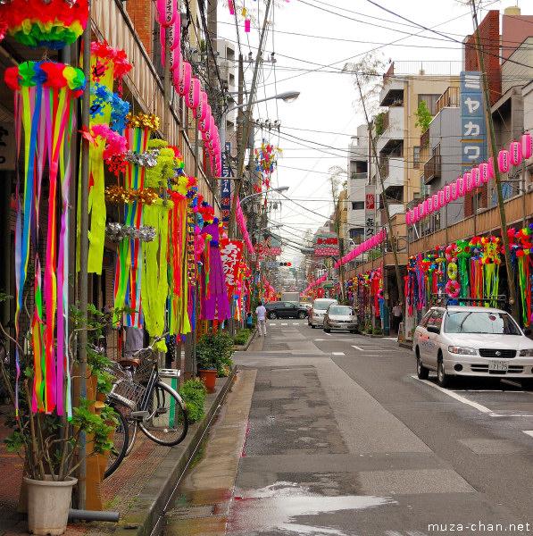 Tanabata decorations, Kappabashi Street, Asakusa, Tokyo