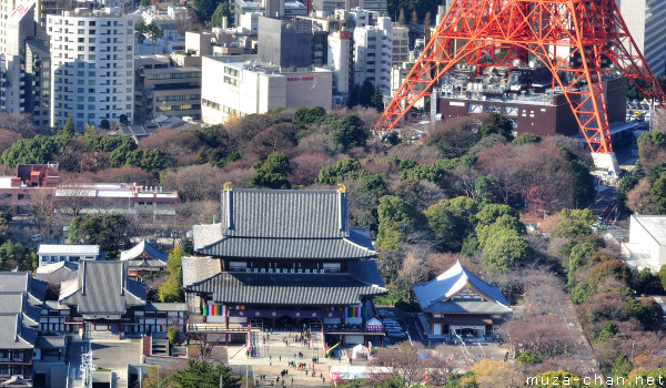 Zojo-ji Temple, View from  World Trade Center Observatory, Tokyo