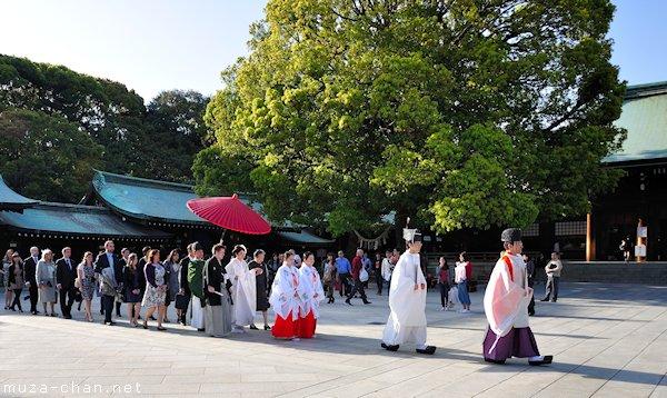 Shinto wedding procession, Meiji Jingu, Shibuya, Tokyo