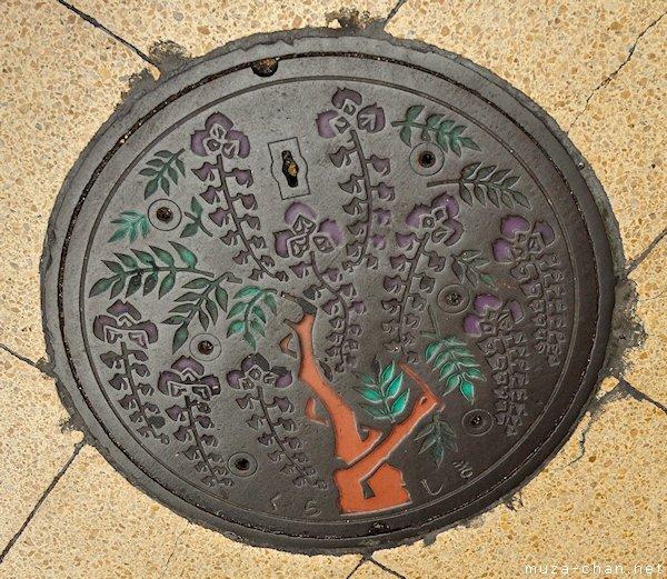 Kurashiki Wysteria Manhole Cover, Kurashiki