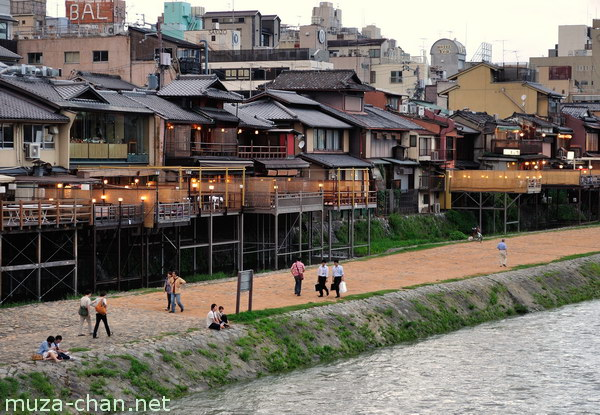 Traditional restaurants, Kamo river, Kyoto