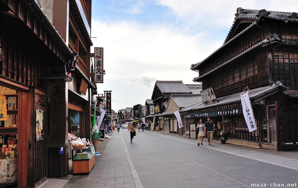Ise Oharai-machi, traditional Japanese architecture streetSukashi tsuba