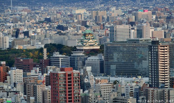 Osaka castle, View from Umeda Sky Building Observatory, Osaka
