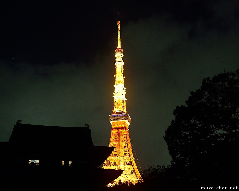 Nigth View Over The Tokyo Tower And Zojo Ji
