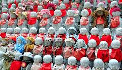 Hundreds of statues with hats