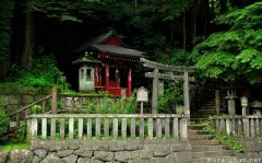 Simply beautiful Japanese scenes, a small shrine in the woods