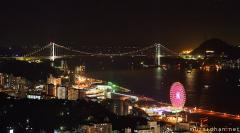 Kanmon Straits, spectacular bird's-eye night view