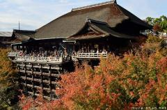 Simply beautiful Japanese scenes, Red leafs at Kiyomizu-dera, Kyoto
