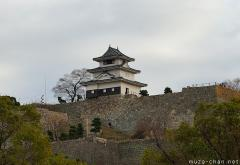 The impressive stone walls of Marugame castle