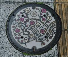 About Japan from... manhole covers, Ume blossoms of Mito