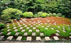Simply beautiful Japanese scenes, checkered Zen garden