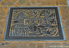 Nagoya artistic manhole cover, the Castle and the Kinshachi