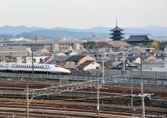 Old and new in Kyoto, the Toji pagoda and a Shinkansen