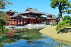Simply beautiful Japanese scenes, Phoenix Hall reflection
