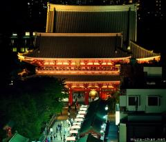 Senso-ji Hozomon gate bird's eye night view