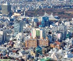Shibuya glass buildings aerial view