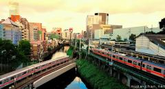 Simply beautiful Japanese scenes, trains in the sunset at Ochanomizu