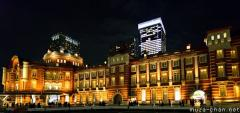 Tokyo Station wide angle night photo
