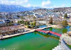 Matsumoto Castle's red bridge panorama