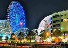 Yokohama Cosmo Clock 21 blue color night view