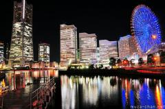 Simply beautiful Japanese scenes, Colorful lights in Yokohama